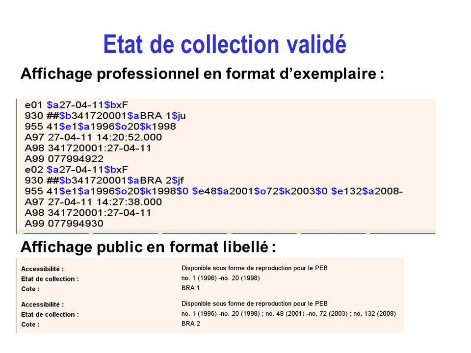 Affichage professionnel en format dexemplaire : Affichage public en format libellé : Etat de collection validé