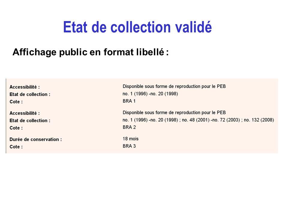 Etat de collection validé Affichage public en format libellé :