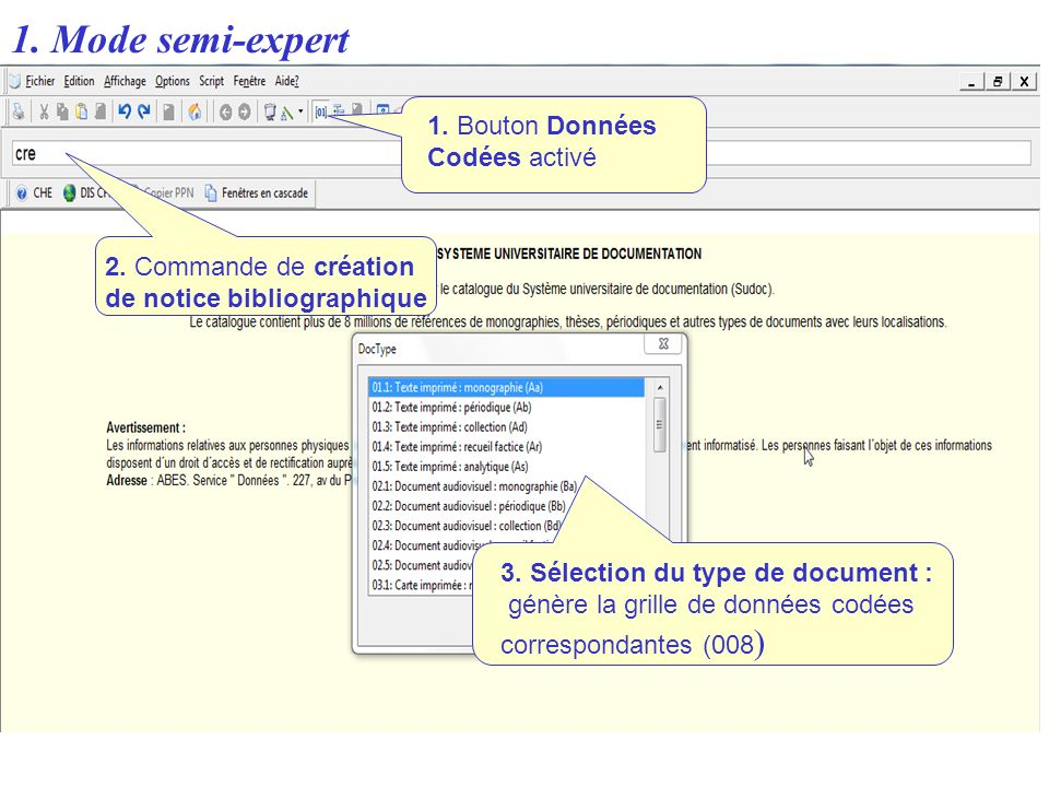 1. Mode semi-expert 1. Bouton Données Codées activé 3. Sélection du type de document : génère la grille de données codées correspondantes (008 ) 2. Co
