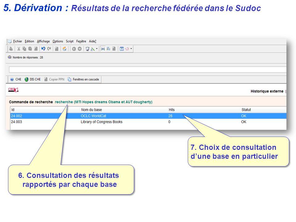 7. Choix de consultation dune base en particulier 6. Consultation des résultats rapportés par chaque base 5. Dérivation : Résultats de la recherche fé