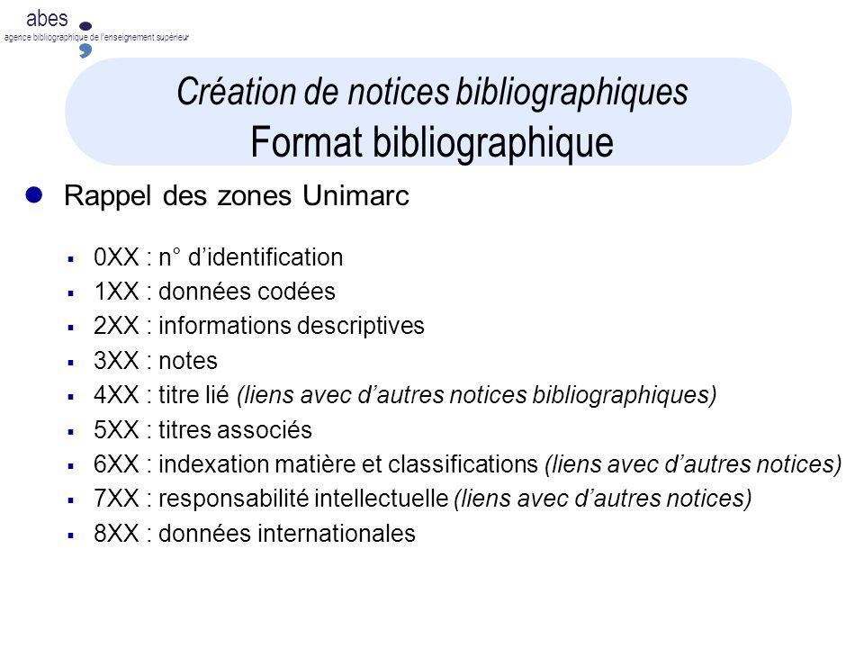 abes agence bibliographique de lenseignement supérieur Création de notices bibliographiques Format bibliographique Rappel des zones Unimarc 0XX : n° d