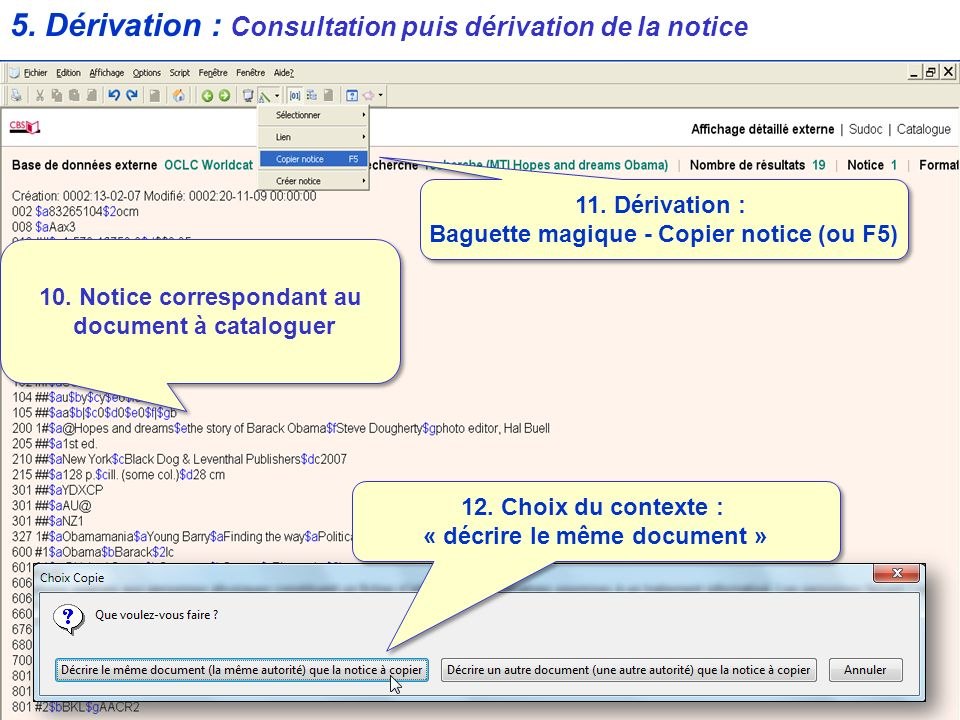 5.Dérivation : Consultation puis dérivation de la notice 11.