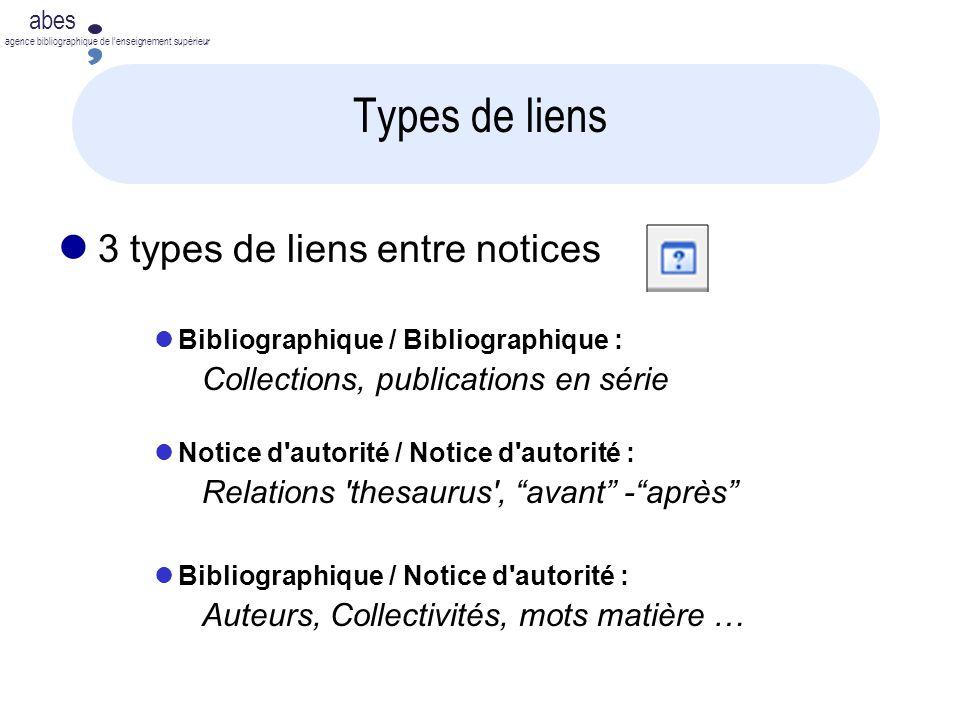 abes agence bibliographique de lenseignement supérieur Types de liens l 3 types de liens entre notices lBibliographique / Bibliographique : Collection