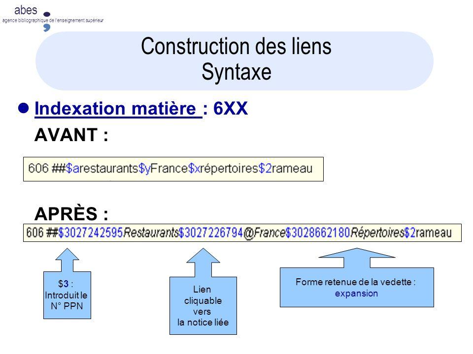 abes agence bibliographique de lenseignement supérieur Lien cliquable vers la notice liée Construction des liens Syntaxe Indexation matière : 6XX AVANT : APRÈS : $3 : Introduit le N° PPN Forme retenue de la vedette : expansion