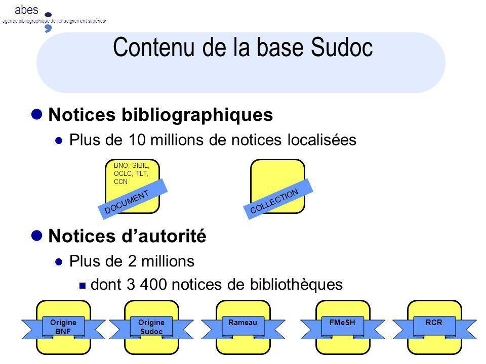 abes agence bibliographique de lenseignement supérieur Contenu de la base Sudoc Notices bibliographiques Plus de 10 millions de notices localisées Not