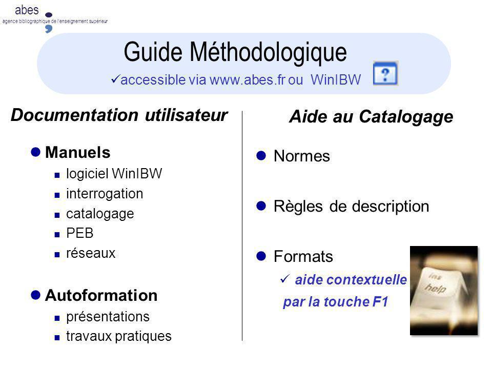 abes agence bibliographique de lenseignement supérieur Documentation utilisateur Manuels logiciel WinIBW interrogation catalogage PEB réseaux Autoform