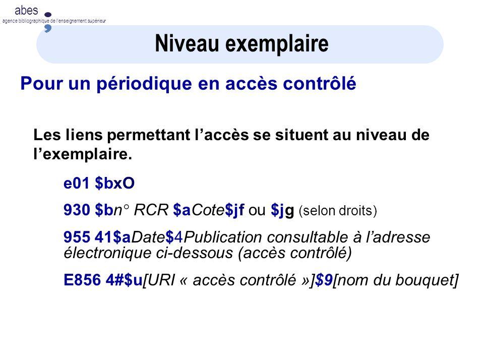 abes agence bibliographique de lenseignement supérieur Niveau exemplaire Pour un périodique en accès contrôlé Les liens permettant laccès se situent au niveau de lexemplaire.