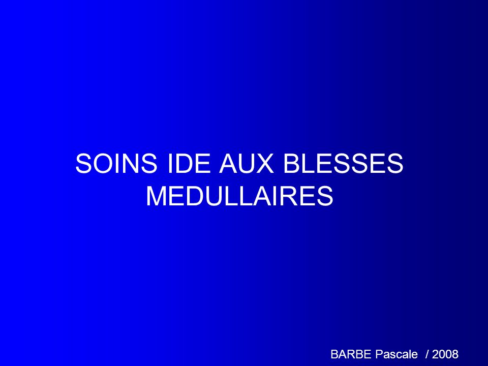 SOINS IDE AUX BLESSES MEDULLAIRES BARBE Pascale / 2008