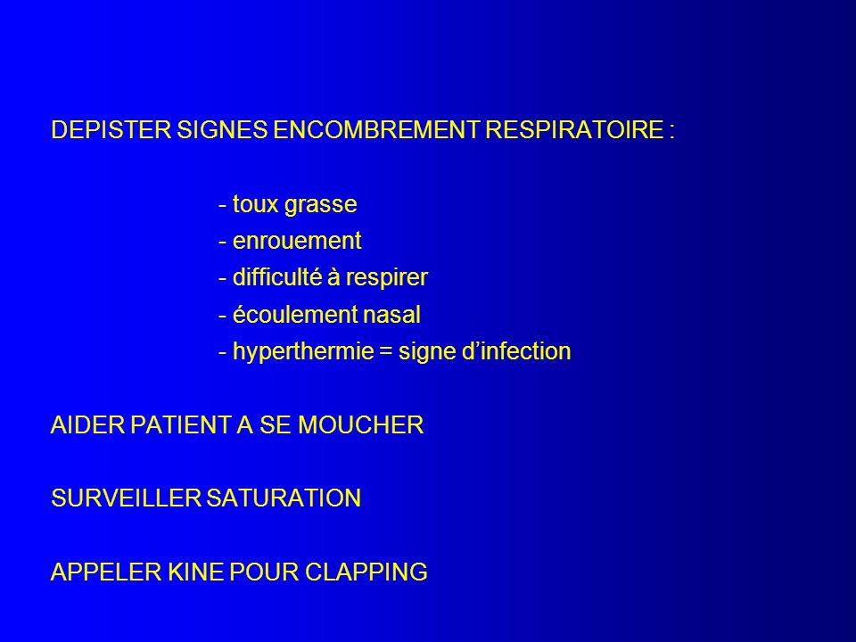 DEPISTER SIGNES ENCOMBREMENT RESPIRATOIRE : - toux grasse - enrouement - difficulté à respirer - écoulement nasal - hyperthermie = signe dinfection AI