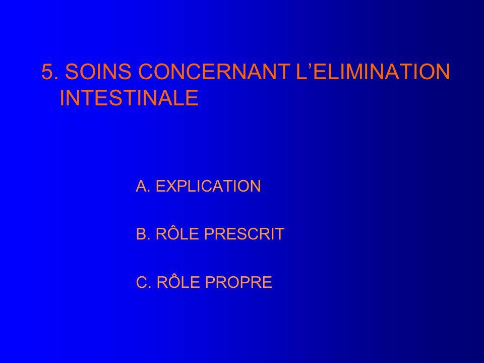5. SOINS CONCERNANT LELIMINATION INTESTINALE A. EXPLICATION B. RÔLE PRESCRIT C. RÔLE PROPRE