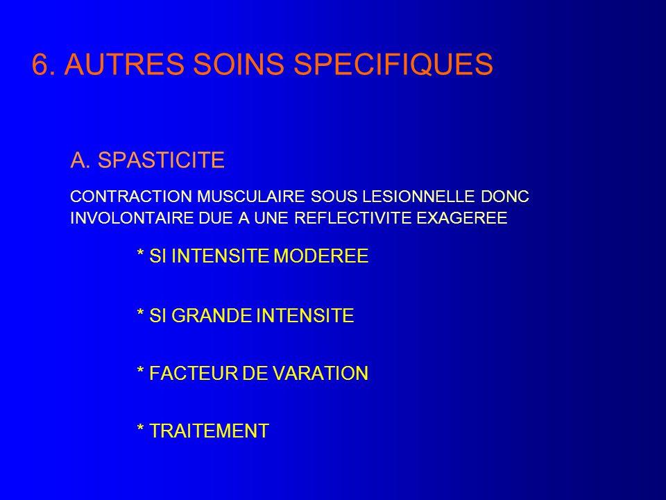 6. AUTRES SOINS SPECIFIQUES A. SPASTICITE CONTRACTION MUSCULAIRE SOUS LESIONNELLE DONC INVOLONTAIRE DUE A UNE REFLECTIVITE EXAGEREE * SI INTENSITE MOD