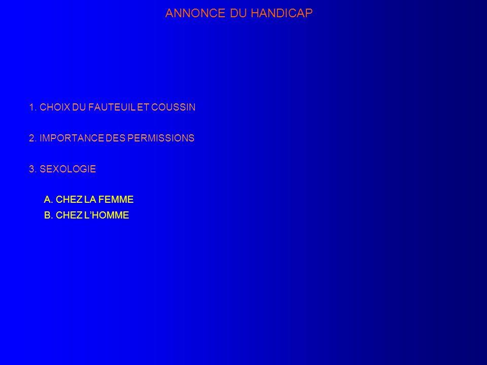 ANNONCE DU HANDICAP 1. CHOIX DU FAUTEUIL ET COUSSIN 2. IMPORTANCE DES PERMISSIONS 3. SEXOLOGIE A. CHEZ LA FEMME B. CHEZ LHOMME