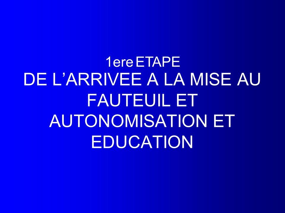 DE LARRIVEE A LA MISE AU FAUTEUIL ET AUTONOMISATION ET EDUCATION 1ere ETAPE