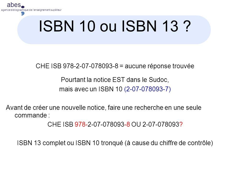abes agence bibliographique de lenseignement supérieur ISBN 10 ou ISBN 13 .