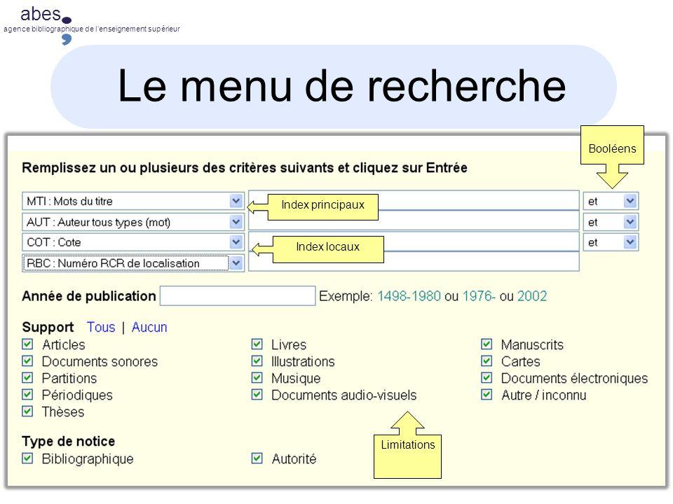 abes agence bibliographique de lenseignement supérieur Le menu de recherche Index principaux Index locaux Booléens Limitations