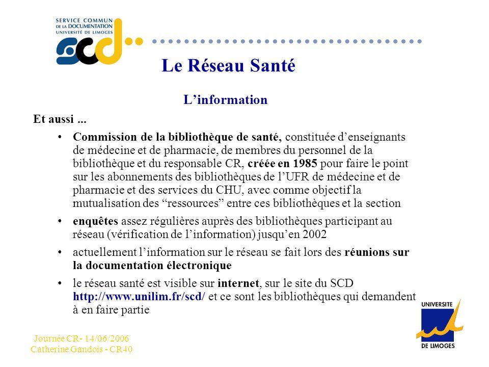 Journée CR- 14/06/2006 Catherine Gandois - CR40 CCC Le Réseau Santé Linformation Et aussi...