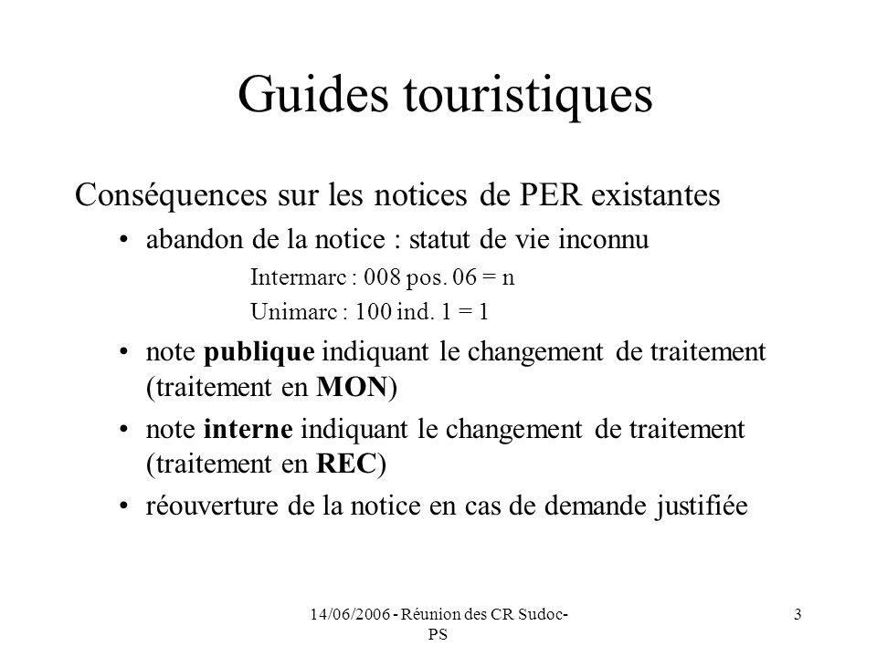 14/06/2006 - Réunion des CR Sudoc- PS 3 Guides touristiques Conséquences sur les notices de PER existantes abandon de la notice : statut de vie inconnu Intermarc : 008 pos.