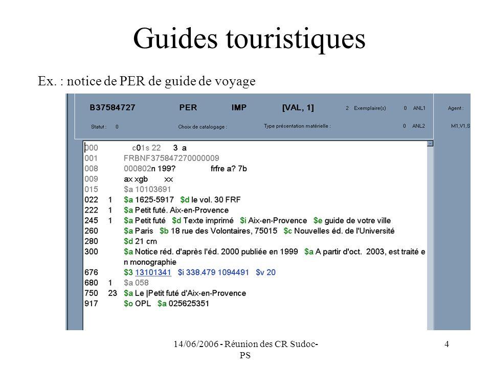 14/06/2006 - Réunion des CR Sudoc- PS 4 Guides touristiques Ex. : notice de PER de guide de voyage