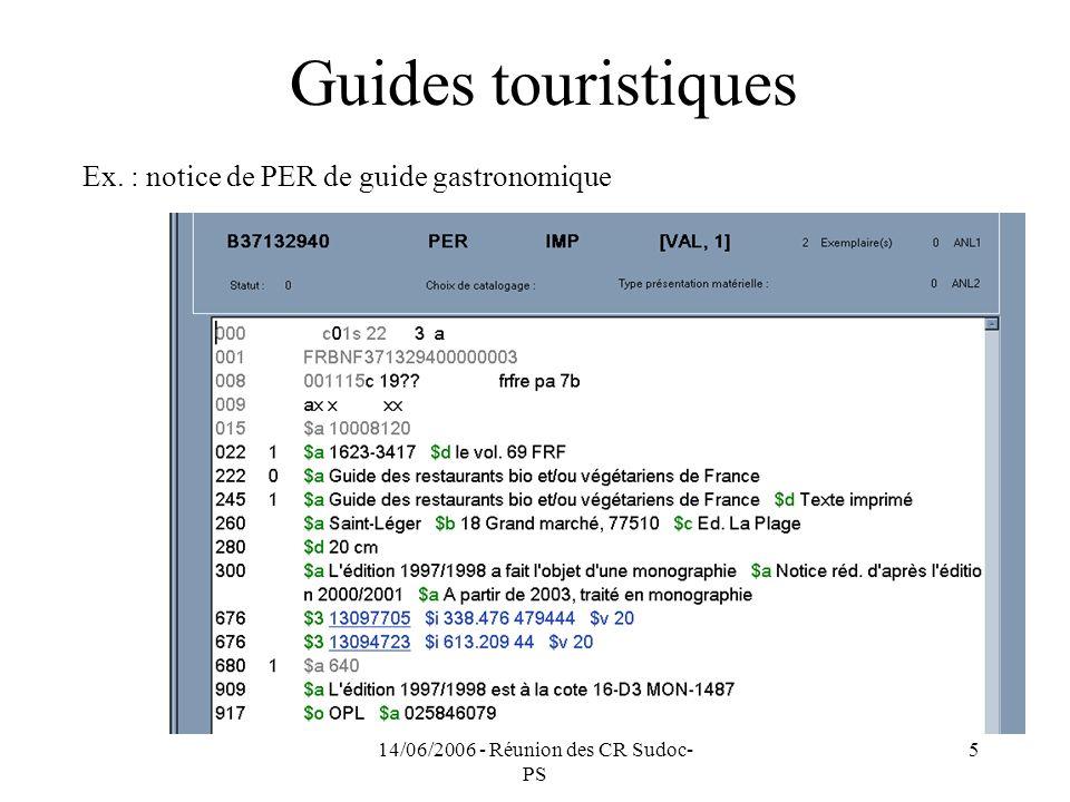 14/06/2006 - Réunion des CR Sudoc- PS 5 Guides touristiques Ex.