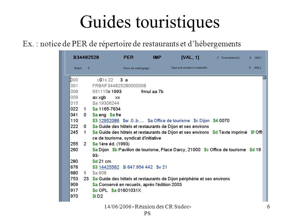 14/06/2006 - Réunion des CR Sudoc- PS 6 Guides touristiques Ex.