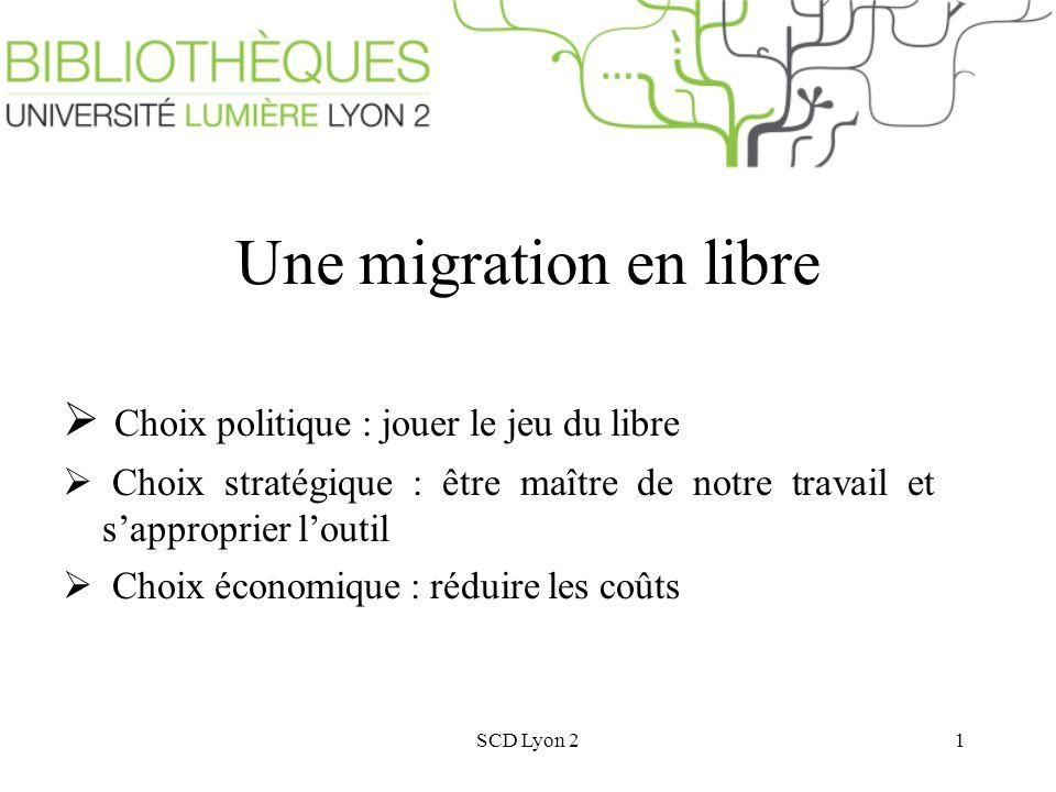 SCD Lyon 21 Une migration en libre Choix politique : jouer le jeu du libre Choix stratégique : être maître de notre travail et sapproprier loutil Choix économique : réduire les coûts