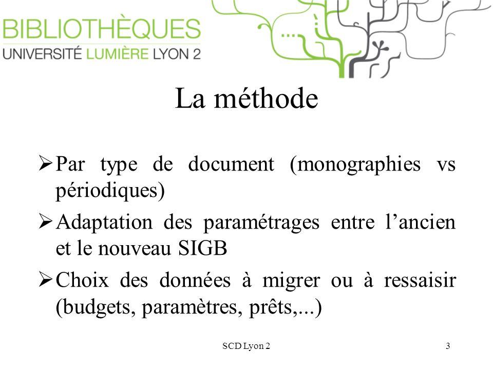 SCD Lyon 23 La méthode Par type de document (monographies vs périodiques) Adaptation des paramétrages entre lancien et le nouveau SIGB Choix des données à migrer ou à ressaisir (budgets, paramètres, prêts,...)