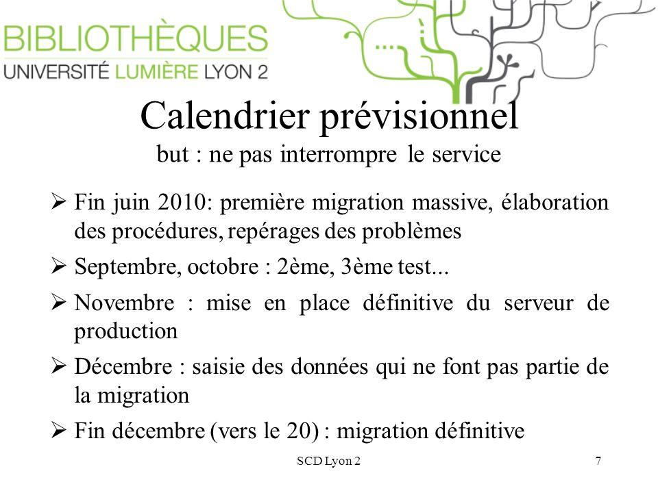 SCD Lyon 27 Calendrier prévisionnel but : ne pas interrompre le service Fin juin 2010: première migration massive, élaboration des procédures, repérages des problèmes Septembre, octobre : 2ème, 3ème test...