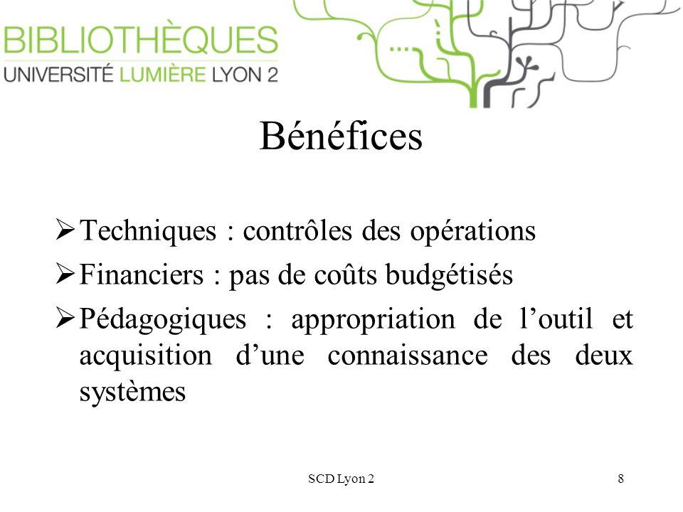 SCD Lyon 28 Bénéfices Techniques : contrôles des opérations Financiers : pas de coûts budgétisés Pédagogiques : appropriation de loutil et acquisition dune connaissance des deux systèmes
