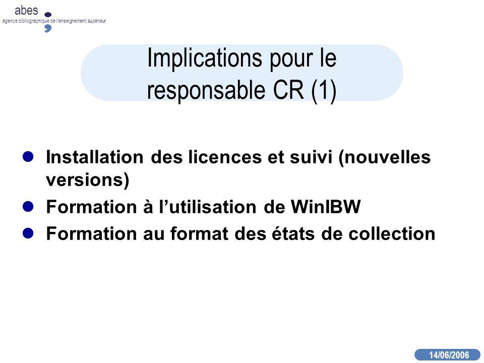 14/06/2006 abes agence bibliographique de lenseignement supérieur Implications pour le responsable CR (1) Installation des licences et suivi (nouvelles versions) Formation à lutilisation de WinIBW Formation au format des états de collection