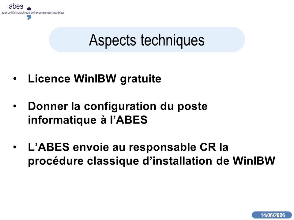 14/06/2006 abes agence bibliographique de lenseignement supérieur Aspects techniques Licence WinIBW gratuite Donner la configuration du poste informatique à lABES LABES envoie au responsable CR la procédure classique dinstallation de WinIBW