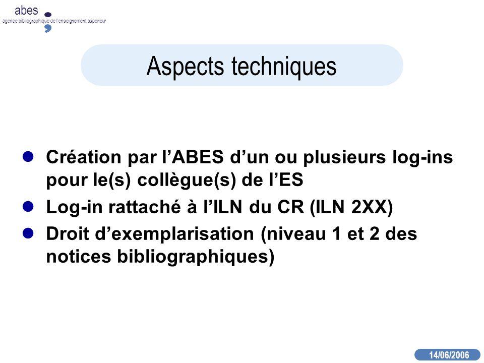 14/06/2006 abes agence bibliographique de lenseignement supérieur Aspects techniques Création par lABES dun ou plusieurs log-ins pour le(s) collègue(s) de lES Log-in rattaché à lILN du CR (ILN 2XX) Droit dexemplarisation (niveau 1 et 2 des notices bibliographiques)