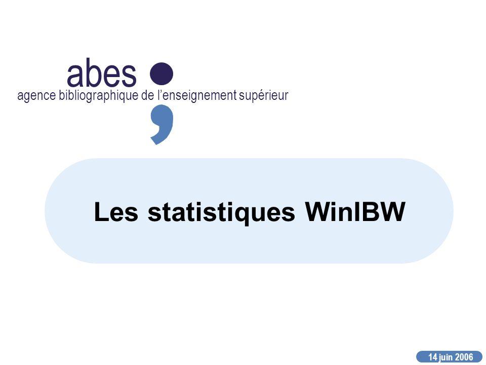 14 juin 2006 abes agence bibliographique de lenseignement supérieur Les statistiques WinIBW