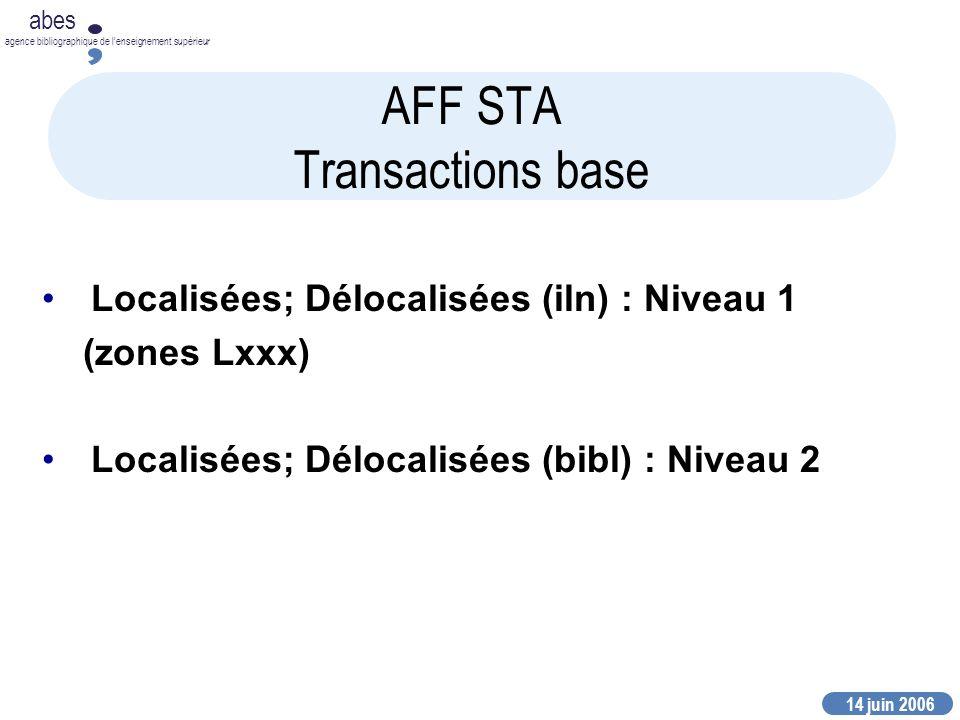 14 juin 2006 abes agence bibliographique de lenseignement supérieur AFF STA Transactions base Localisées; Délocalisées (iln) : Niveau 1 (zones Lxxx) Localisées; Délocalisées (bibl) : Niveau 2