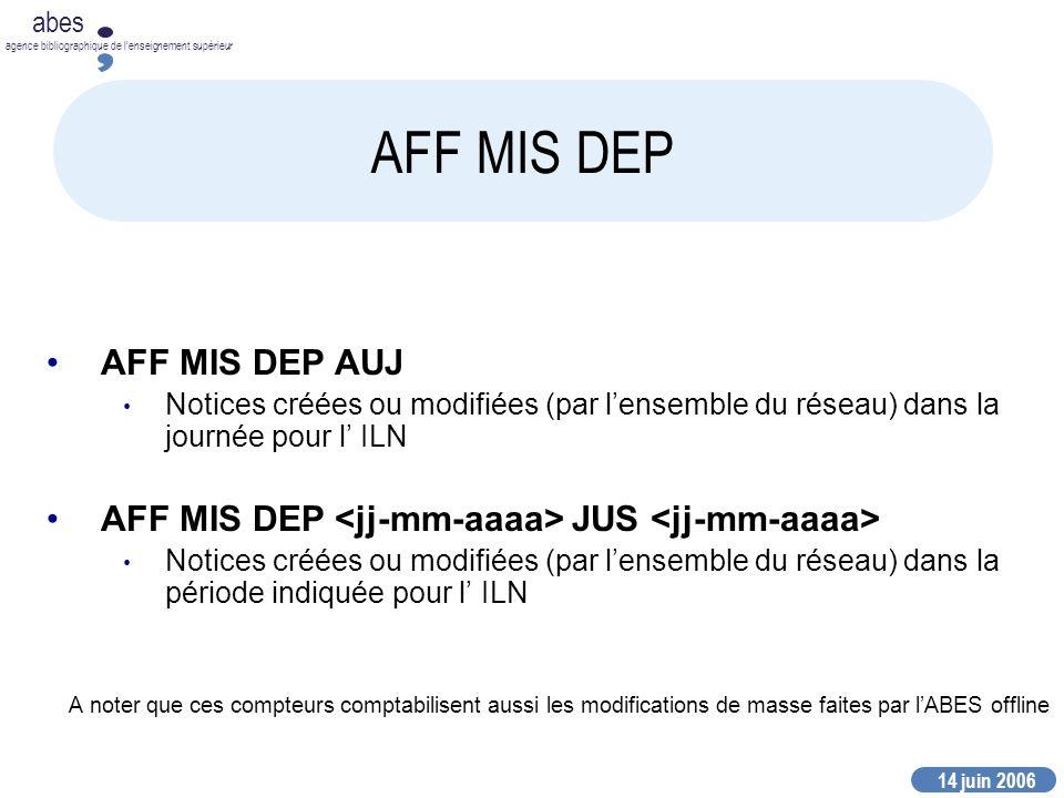 14 juin 2006 abes agence bibliographique de lenseignement supérieur AFF MIS DEP AFF MIS DEP AUJ Notices créées ou modifiées (par lensemble du réseau)