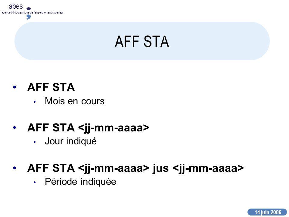 14 juin 2006 abes agence bibliographique de lenseignement supérieur AFF STA Mois en cours AFF STA Jour indiqué AFF STA jus Période indiquée