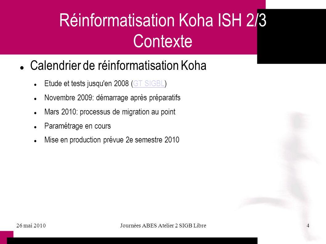 26 mai 2010Journées ABES Atelier 2 SIGB Libre4 Réinformatisation Koha ISH 2/3 Contexte Calendrier de réinformatisation Koha Etude et tests jusqu'en 20