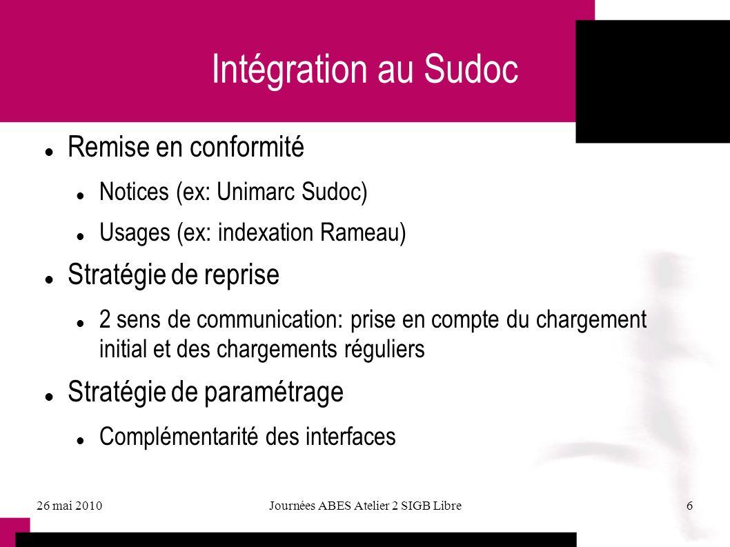 26 mai 2010Journées ABES Atelier 2 SIGB Libre6 Intégration au Sudoc Remise en conformité Notices (ex: Unimarc Sudoc) Usages (ex: indexation Rameau) St