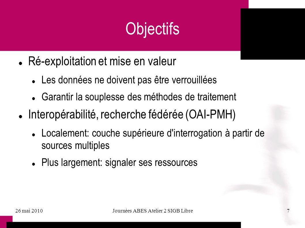 26 mai 2010Journées ABES Atelier 2 SIGB Libre7 Objectifs Ré-exploitation et mise en valeur Les données ne doivent pas être verrouillées Garantir la so