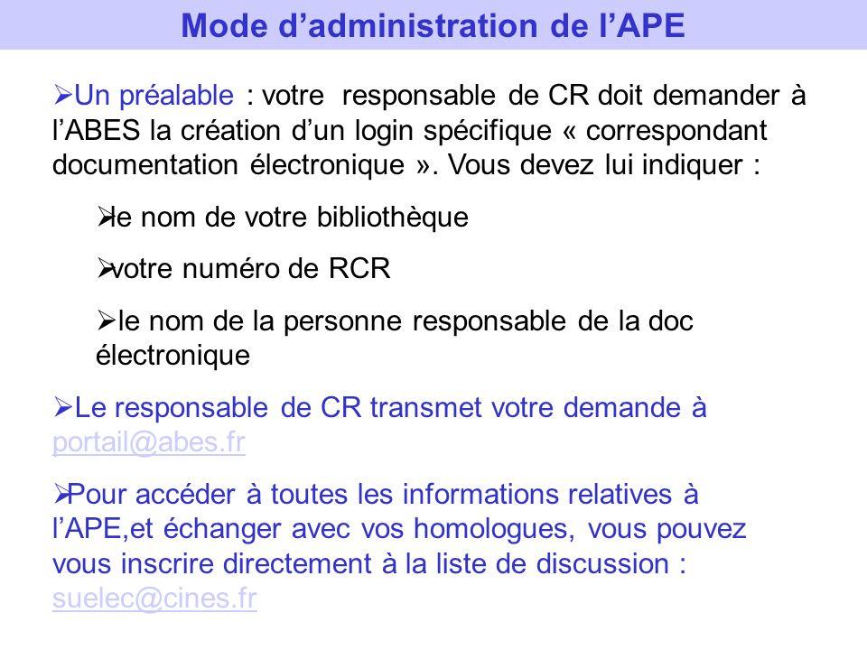 Mode dadministration de lAPE Un préalable : votre responsable de CR doit demander à lABES la création dun login spécifique « correspondant documentati