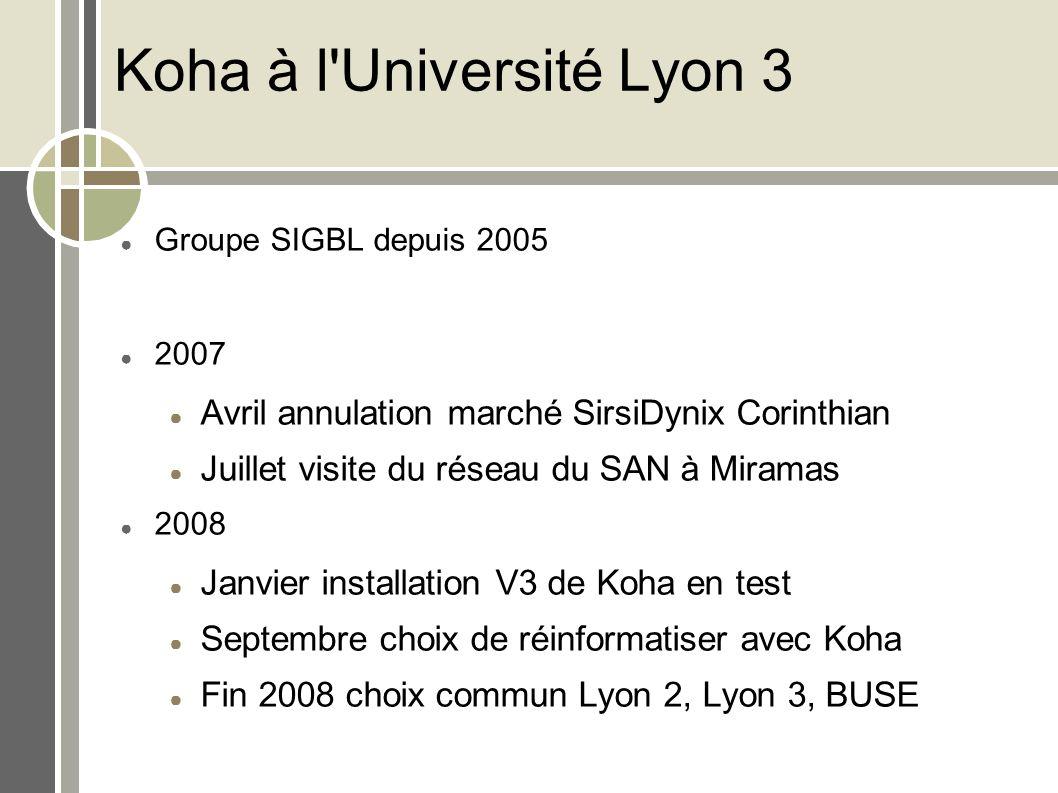 Koha à l'Université Lyon 3 Groupe SIGBL depuis 2005 2007 Avril annulation marché SirsiDynix Corinthian Juillet visite du réseau du SAN à Miramas 2008