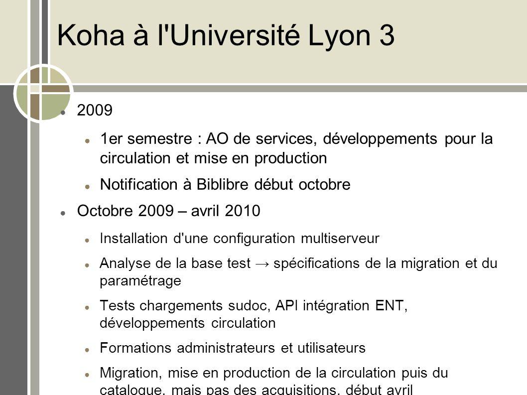 Koha à l'Université Lyon 3 2009 1er semestre : AO de services, développements pour la circulation et mise en production Notification à Biblibre début