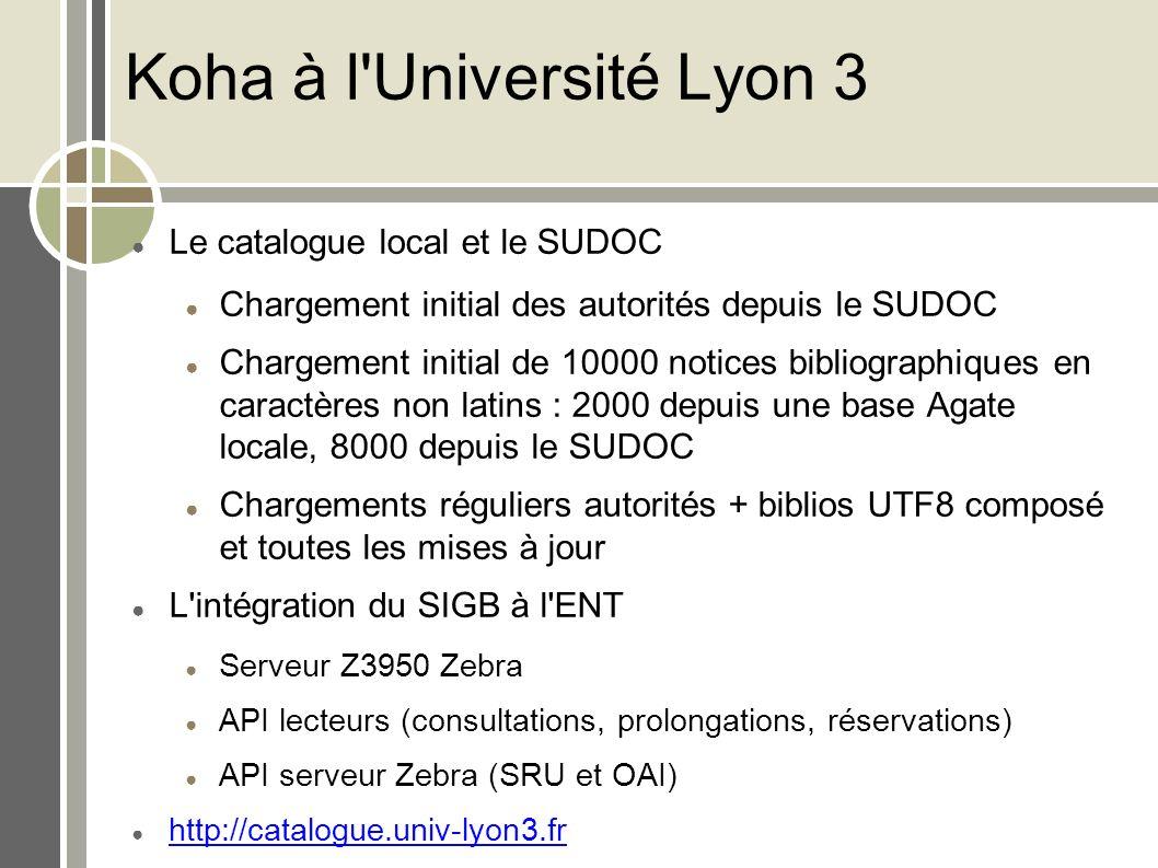 Koha à l'Université Lyon 3 Le catalogue local et le SUDOC Chargement initial des autorités depuis le SUDOC Chargement initial de 10000 notices bibliog