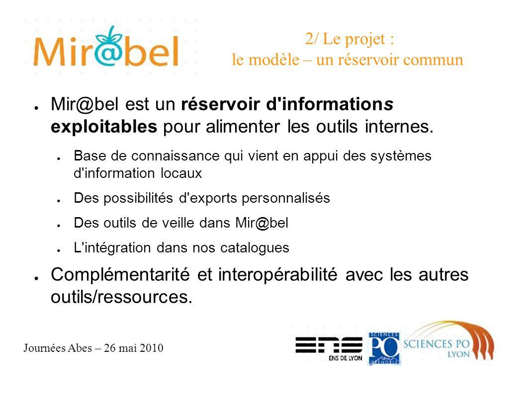 Journées Abes – 26 mai 2010 2/ Le projet : le modèle – un réservoir commun Mir@bel est un réservoir d informations exploitables pour alimenter les outils internes.
