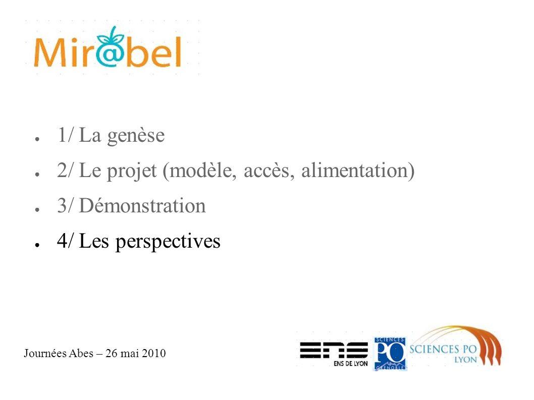 1/ La genèse 2/ Le projet (modèle, accès, alimentation) 3/ Démonstration 4/ Les perspectives Journées Abes – 26 mai 2010