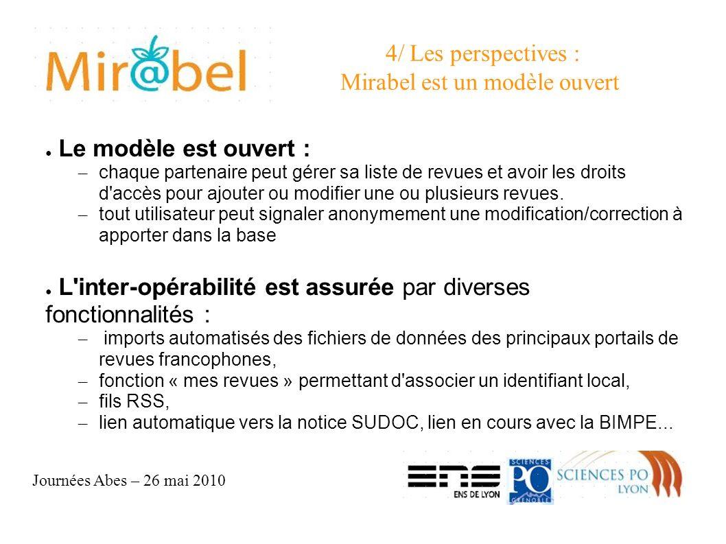 4/ Les perspectives : Mirabel est un modèle ouvert Le modèle est ouvert : – chaque partenaire peut gérer sa liste de revues et avoir les droits d accès pour ajouter ou modifier une ou plusieurs revues.