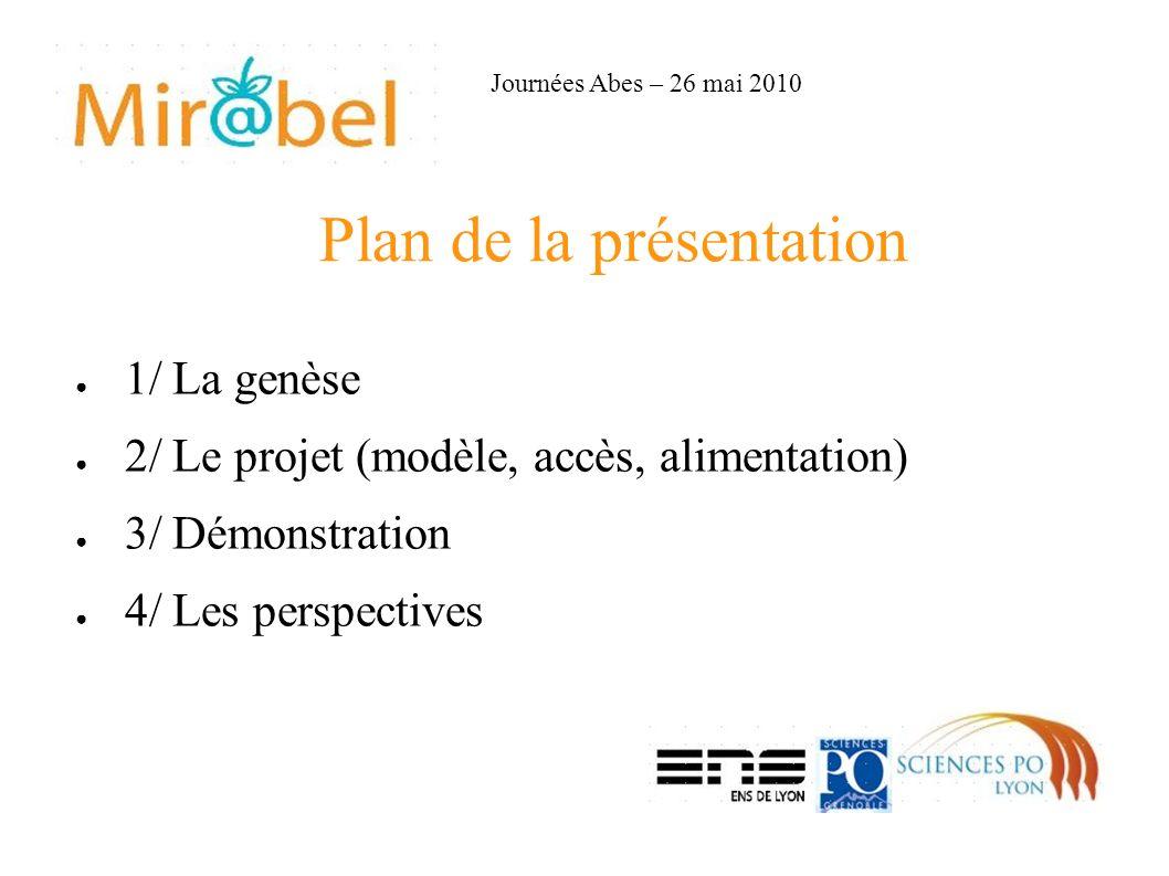 Plan de la présentation 1/ La genèse 2/ Le projet (modèle, accès, alimentation) 3/ Démonstration 4/ Les perspectives