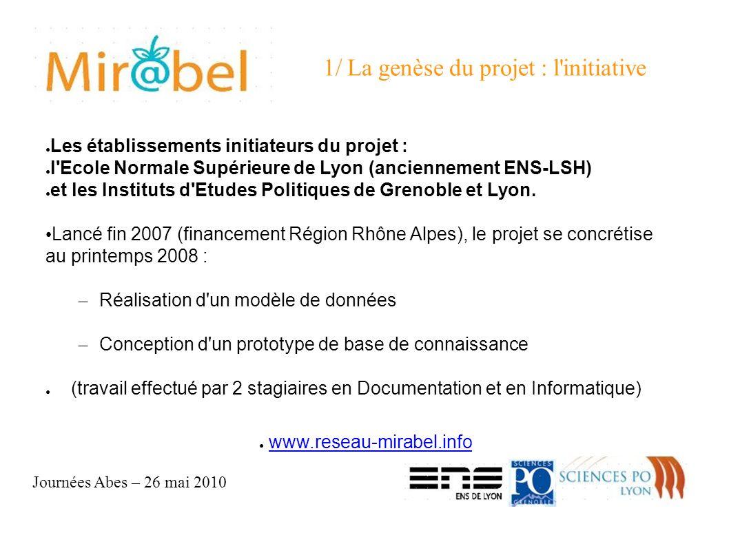 Journées Abes – 26 mai 2010 1/ La genèse du projet : l initiative Les établissements initiateurs du projet : l Ecole Normale Supérieure de Lyon (anciennement ENS-LSH) et les Instituts d Etudes Politiques de Grenoble et Lyon.