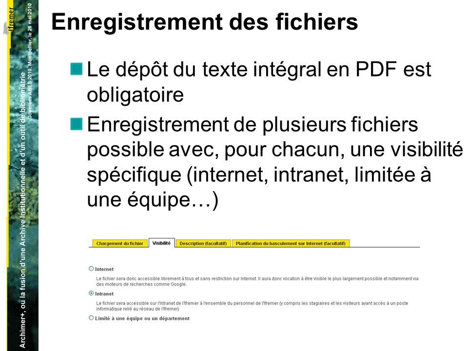 Enregistrement des fichiers Le dépôt du texte intégral en PDF est obligatoire Enregistrement de plusieurs fichiers possible avec, pour chacun, une visibilité spécifique (internet, intranet, limitée à une équipe…)