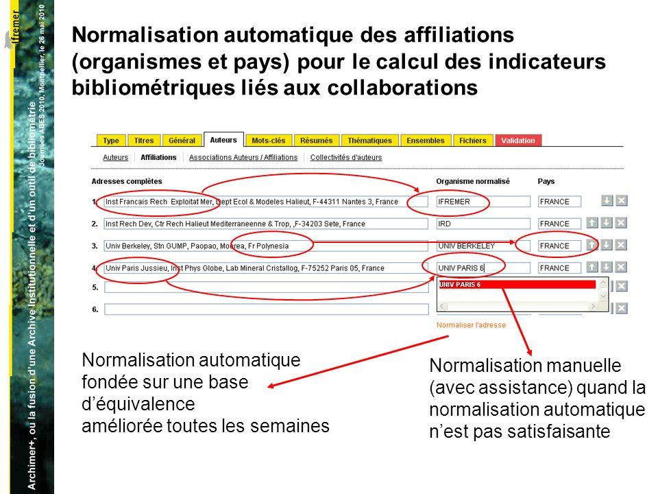 Normalisation automatique des affiliations (organismes et pays) pour le calcul des indicateurs bibliométriques liés aux collaborations Normalisation automatique fondée sur une base déquivalence améliorée toutes les semaines Normalisation manuelle (avec assistance) quand la normalisation automatique nest pas satisfaisante