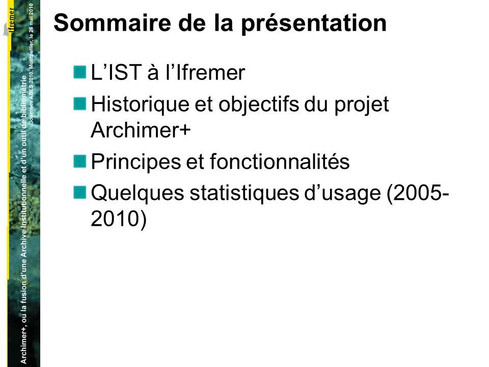 Sommaire de la présentation LIST à lIfremer Historique et objectifs du projet Archimer+ Principes et fonctionnalités Quelques statistiques dusage (2005- 2010)